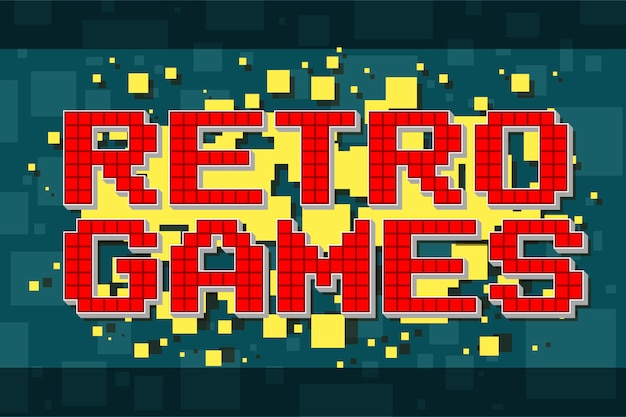 Red pixel retro text button for video games