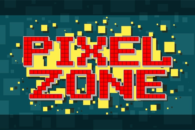 Red pixel retro zone button for video games