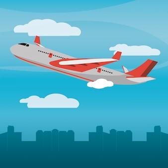 Red plane city daylight