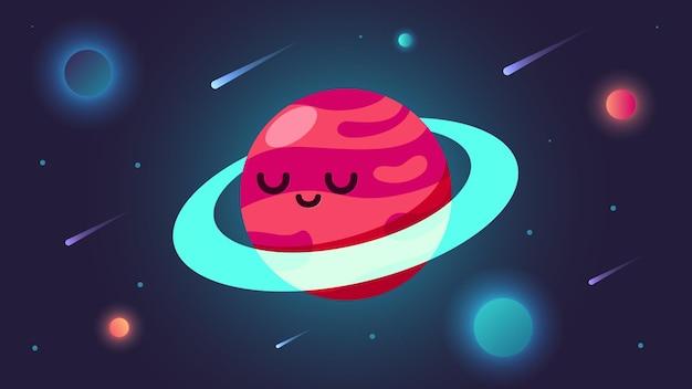 Красная планета в космическом пространстве с кометой и звездами