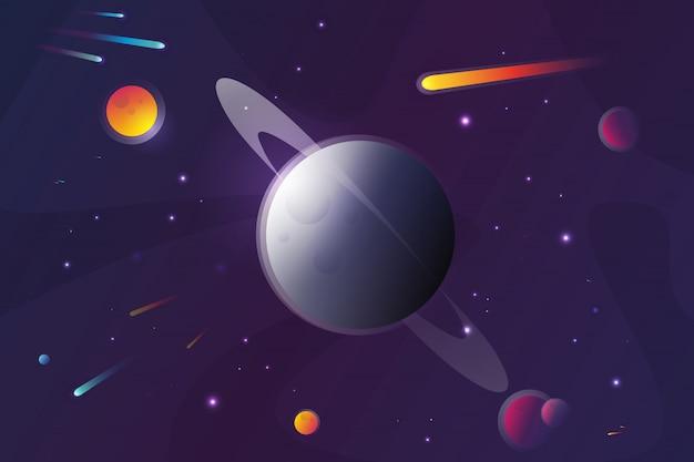 붉은 행성 풍경 벡터 일러스트입니다. 분화구와 행성의 표면입니다.
