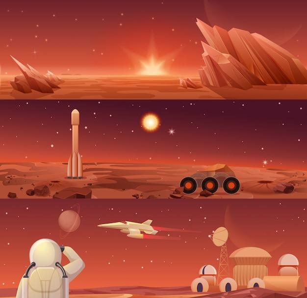 Колонизация и исследование марса на красной планете. пейзаж галактики марс с марсоходом, ракетой-шаттлом, космическим кораблем и базой города-колонии с горизонтальными шаблонами-баннерами астронавтов.