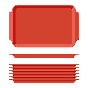 Красный пластиковый пустой поднос для еды с ручками. прямоугольные кухонные подносы, изолированные на белом фоне. пластиковый лоток для иллюстрации столовой, прямоугольная стопка тарелок, вид сверху.