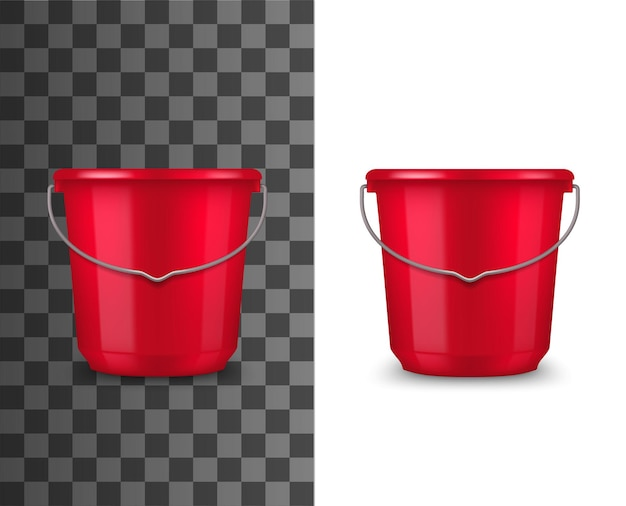 リアルな赤いプラスチック製のバケツ