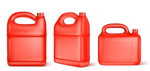 Red plastic canister for liquid fuel, chlorine, motor oil, car lubricant or detergent.