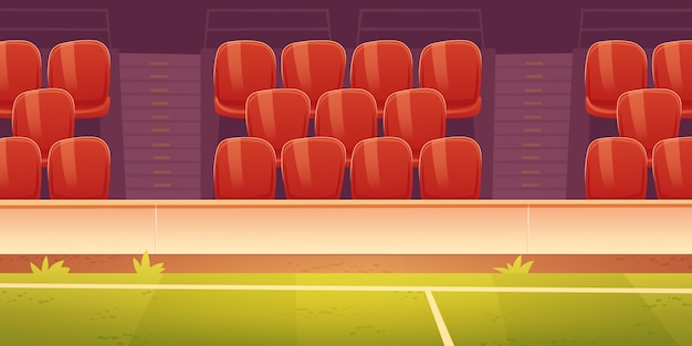 Red plastic seats on sport stadium tribune