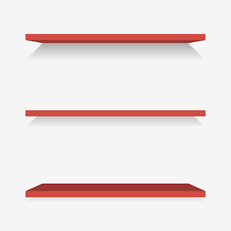Red plastic shelves with shadow. vector illustration.