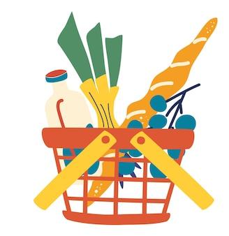 Красная пластиковая корзина для покупок, полная продуктов. супермаркет или местный магазин. продовольственная корзина для покупок с натуральными и органическими продуктами. плоский векторный символ.