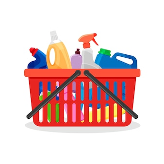 Red plastic shopping cart full of detergent bottles and containers. supermarket basket with cleaning supplies and washing powder products.