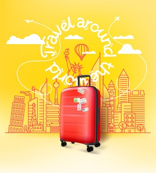 Red plastic suitcase with abstract cityscape with famous sightseengs. travel around