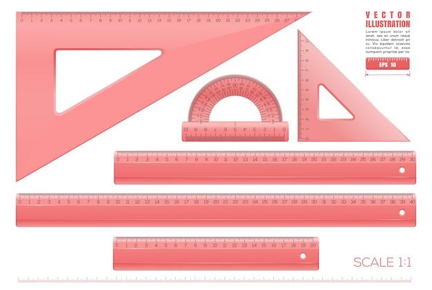 Красные пластиковые прозрачные измерительные линейки установить иллюстрацию