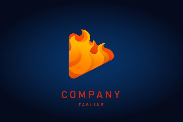 Red play music with fire flame gradient logo
