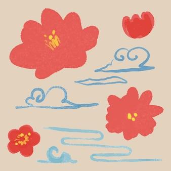 赤い梅の花 植物図
