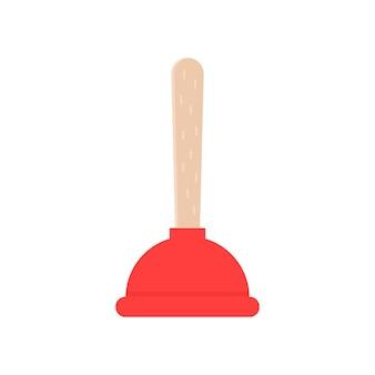 빨간 플런저 아이콘입니다. 청소, 문제, 배수, 쓰레기, 하수, 오염, 가사, 청소, 반투즈를 제거합니다. 흰색 배경에 평면 스타일 트렌드 현대 로고 그래픽 디자인