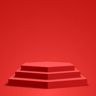 赤い表彰台。ペデスタル。六角形のシーン。図。