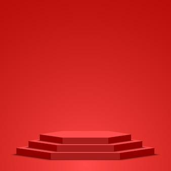 Red podium. pedestal. scene.