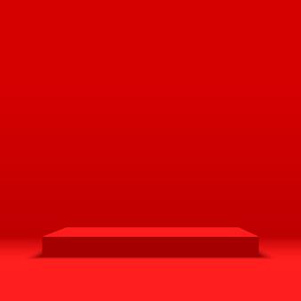Red podium. pedestal.