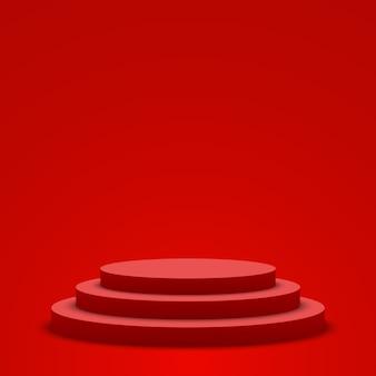 赤い表彰台。ペデスタル。