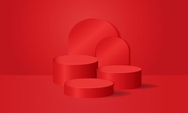 赤い表彰台の写真スタジオの部屋のシーン。クリスマスのテーマ。受賞者、製品展示。