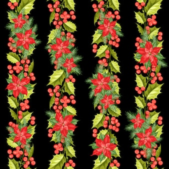 Red poinsettia flower pattern. seamless holiday  with christmas star. handmade floral pattern with poinsettia.