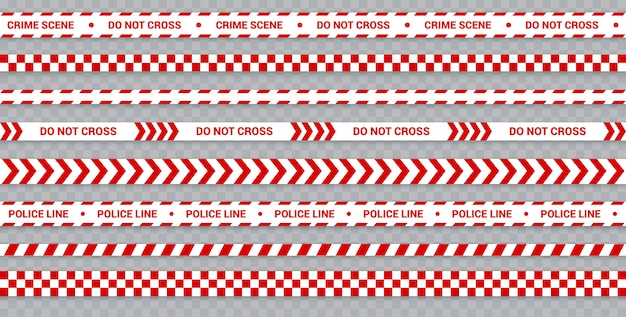 Red police line set, caution and danger tape for crime scene, restricted zone.
