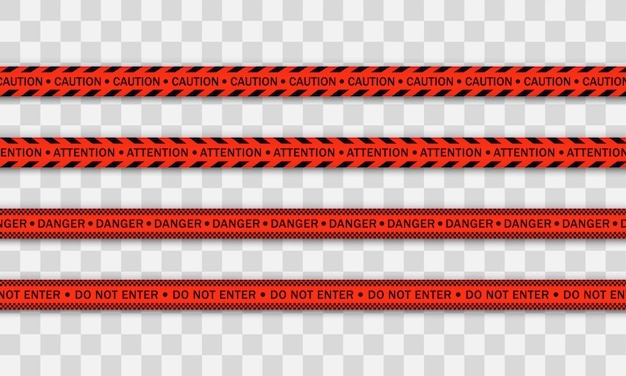 Red police line warning tape, danger, caution tape. covid-19, quarantine, stop, do not cross, border closed. red and black barricade. quarantine zone due to coronavirus. danger signs.  .