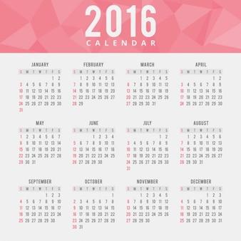 Red polygonal 2016 calendar