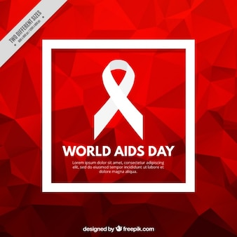 Red polygonal background of world aids day Premium Vector