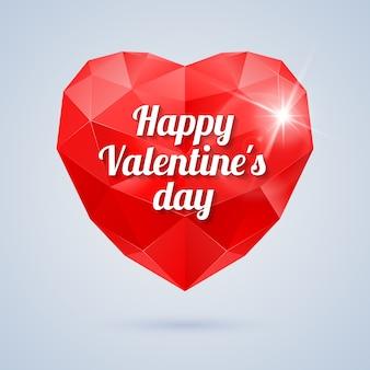 Красное многоугольное сердце с текстом приветствия