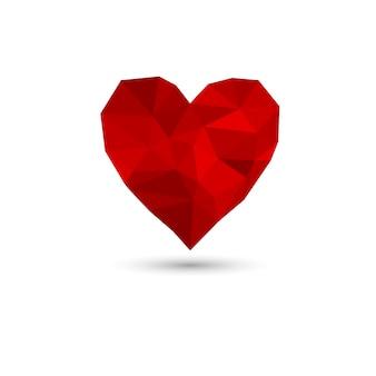 赤い多角形の心。