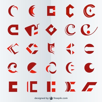 Red polygonal logos collection