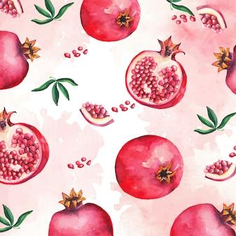 赤いザクロの果実と葉のパターンの水彩画