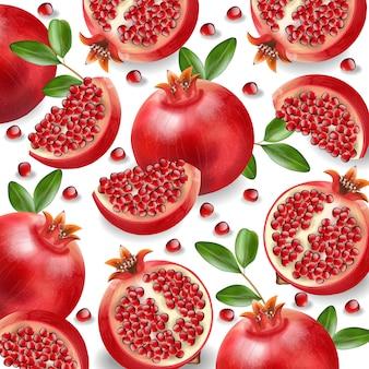 Red pomegranate realistic, fresh fruit isolated, white background,