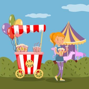Красная будочка и девушка попкорна есть попкорн в иллюстрации парка атракционов, красочном дизайне