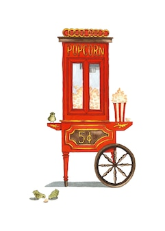 Red popcorn cart old style  watercolor illustration