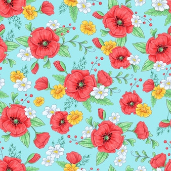 Red poppies and daisies seamless pattern.
