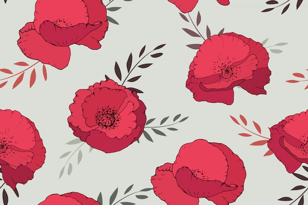 Red poppies seamless pattern on beige