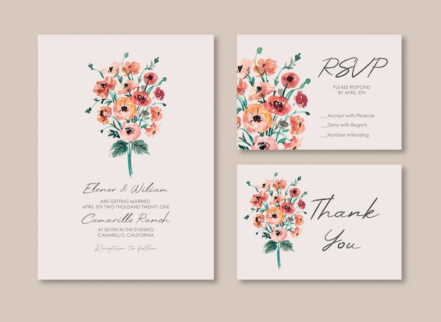 Red poppies watercolor wedding invitation