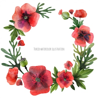 Red poppies wreath