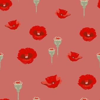붉은 양귀비 꽃 패턴 배경