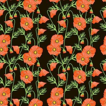 Red poppy flower seamless pattern.