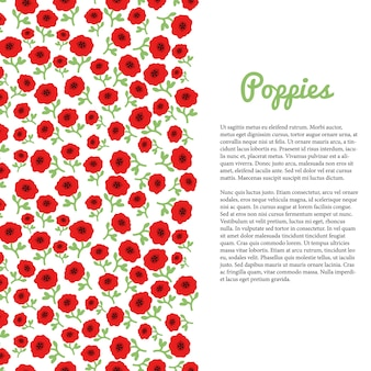 Red poppy flowers border. vector template for flyer, banner, poster, brochure, cover, postcards, invitation,