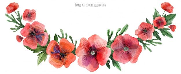 Red poppy gala garland