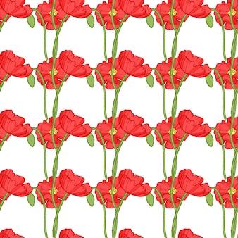 赤いポピーのシームレスなパターン。 r