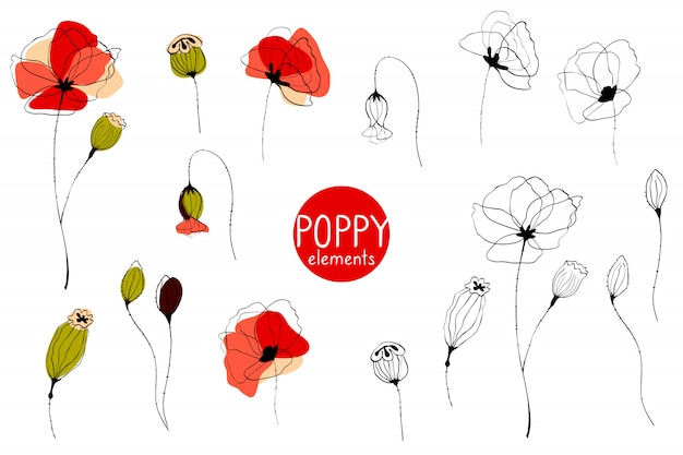 Red poppy, set of elements