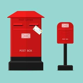 Red post box flat vector