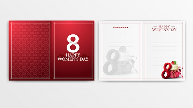 Red postcard for women's day ready to print