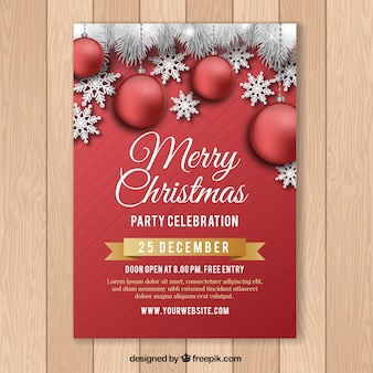 Red poster for christmas celebration