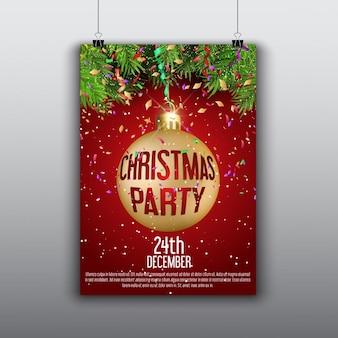 황금 크리스마스 공 빨간 포스터