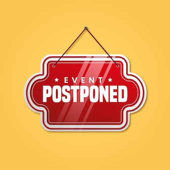 Red postponed sign illustrated